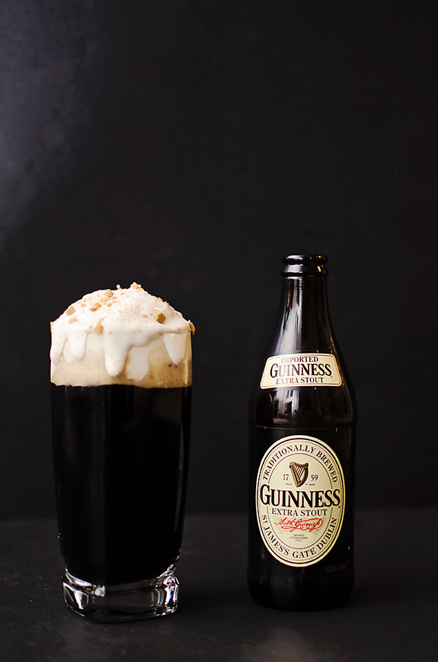 Bailey's Whipped Cream on top of Guinness