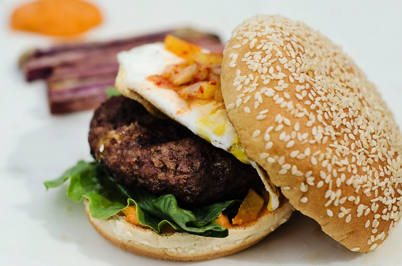 Kalbi Burgers with Pickled Veggie Slaw and Korean-Style Mayo