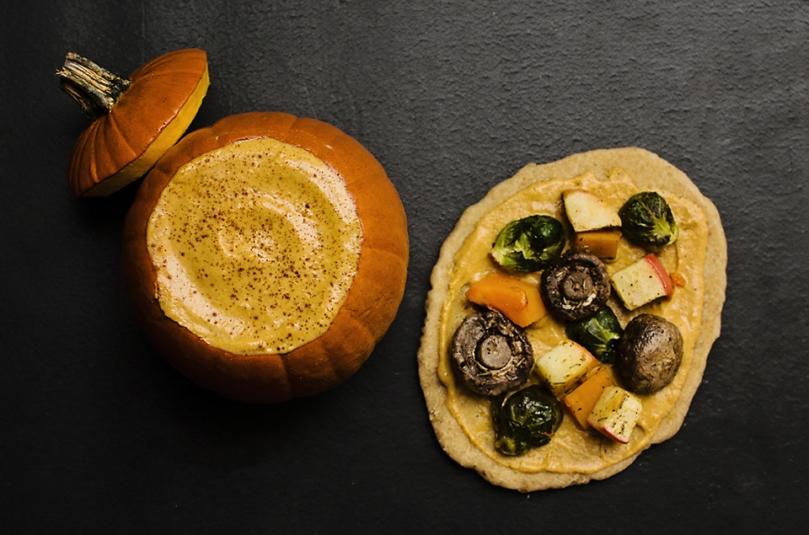 Roasted Veggie Flatbread w/ Maple Sage Pumpkin Spread