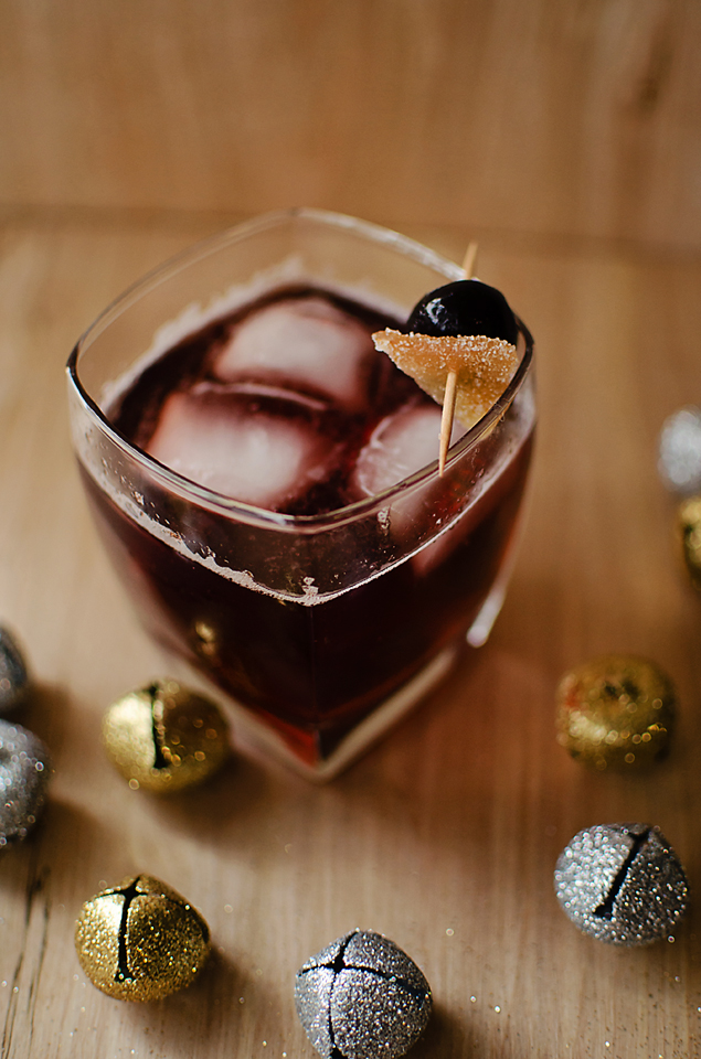 Gin-gle Bells Cocktail: gin, cherry liqueur, cherry syrup, and ginger ale.