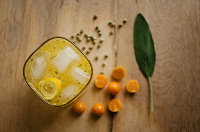 Spiced Gooseberry G&T: a pleasantly bitter and refreshing winter drink with a complex flavor, spiced with sage and green peppercorn.