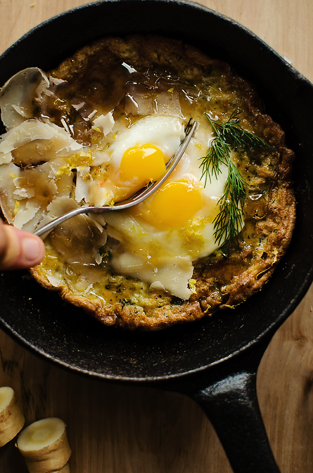 Root veggie Dutch Baby with lemon-dill cream sauce and balsamic drizzle