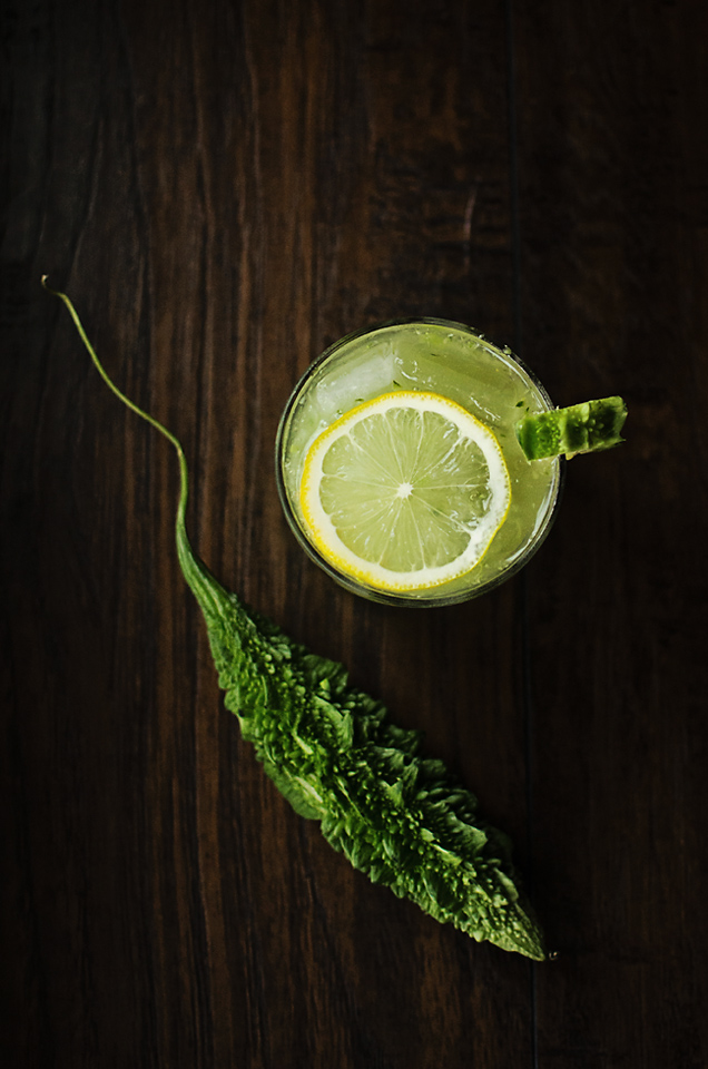 The Bitter Ginger: green chartreuse, bitter melon, sugar snap peas, cucumber, lemon juice, and ginger beer